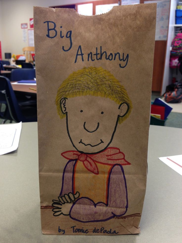 Cafe 1123: Character Paper Bag Project - perfect for library display with book.