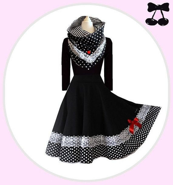 S M L XL XXL Kleid  Pin Up  mit Kragen Schal von BlackCherrysStore