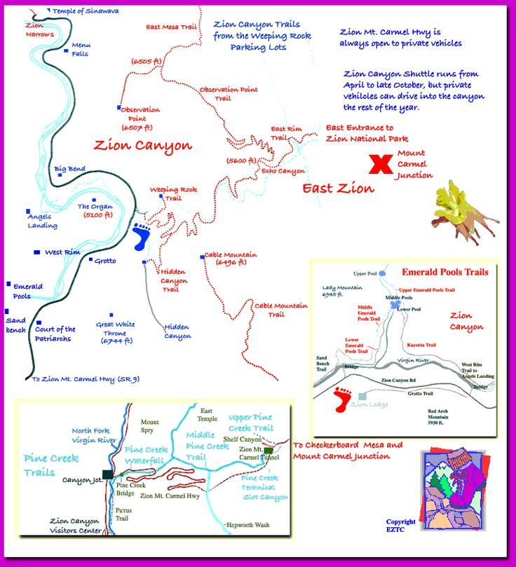 Zion Park Trail Map Http Www Nationalparked Com Us