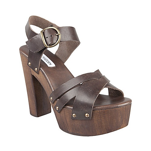 VENIICEE BROWN LEATHER women's sandal mid wood bottom - Steve Madden