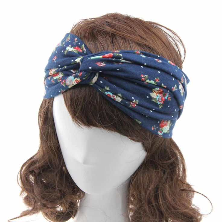Amazing Fashion Women Flower Printed Spring Twist Hair Band Turban Headband Hairband for Women