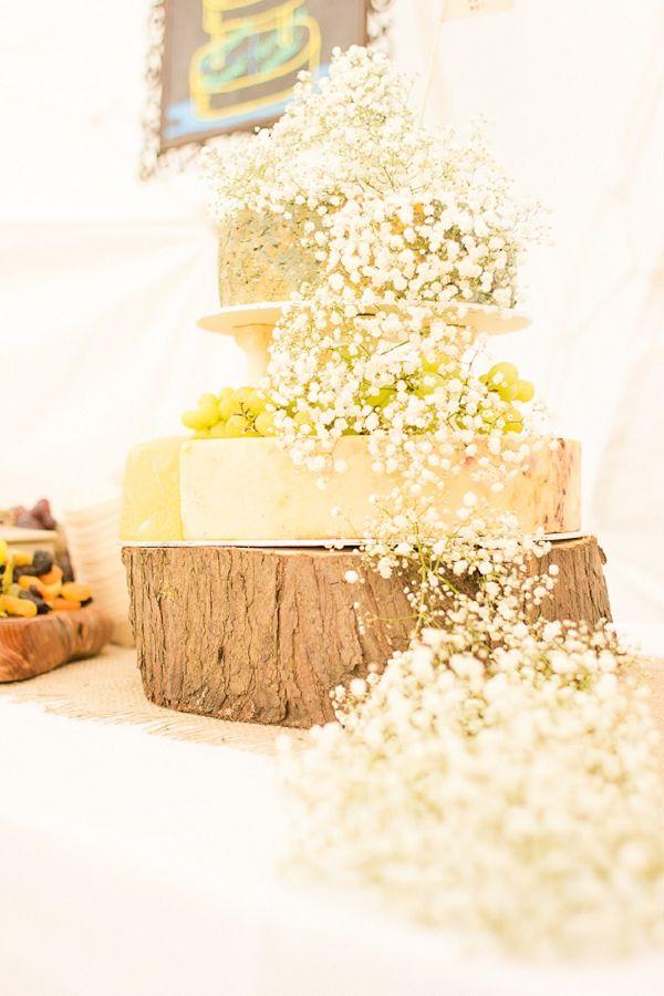 A Woodland, DIY Bohemian Wedding ~ clever/easy cake decor