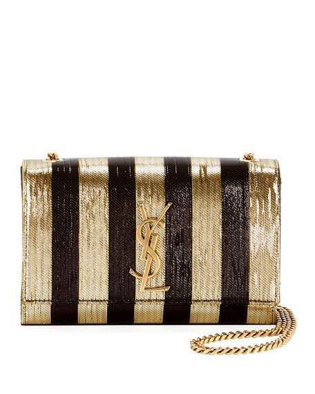 23e676356cf2 Kate Monogram YSL Small Metallic-Striped Crossbody Bag by Saint Laurent at  Neiman Marcus
