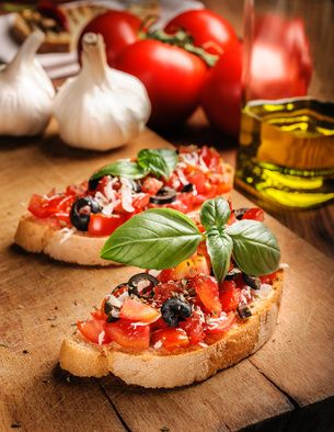Bruschetta with Grecian Harvest Organic Olive Oil