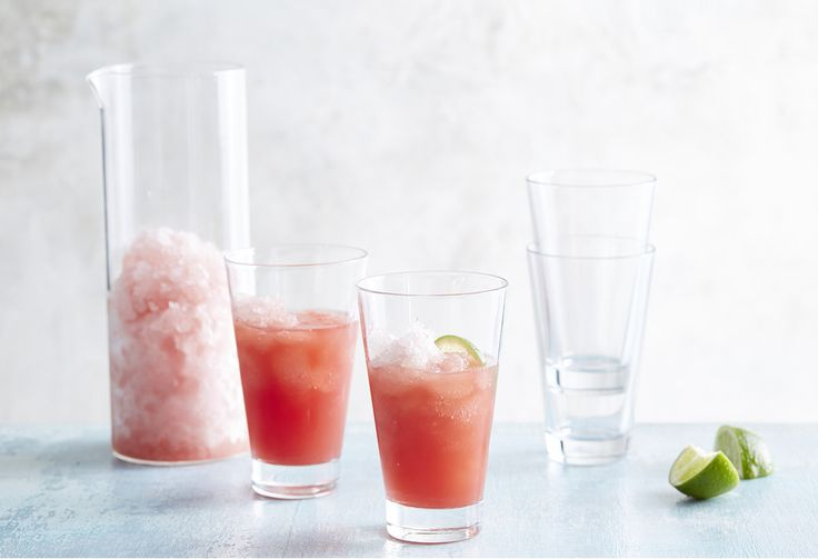 Frosé (frozé? Frozay?) is this season's hottest new drink. What is it? Basically, it's a frozen rosé slushie. And this version includes watermelon and vodka!