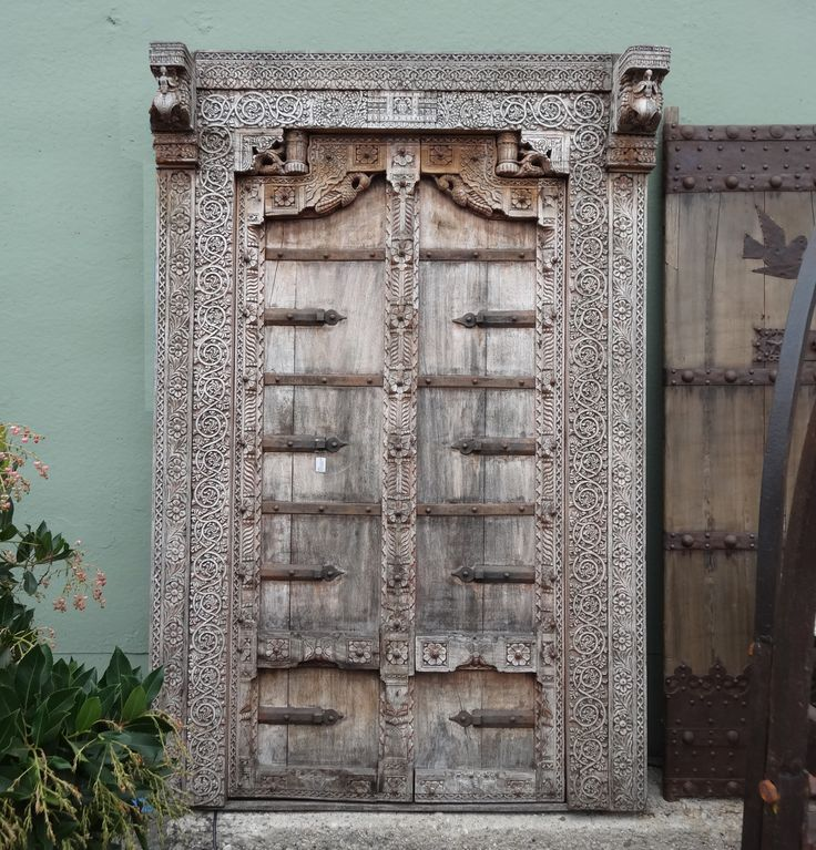 Original Rajasthani Teak Carved Doors With Surround