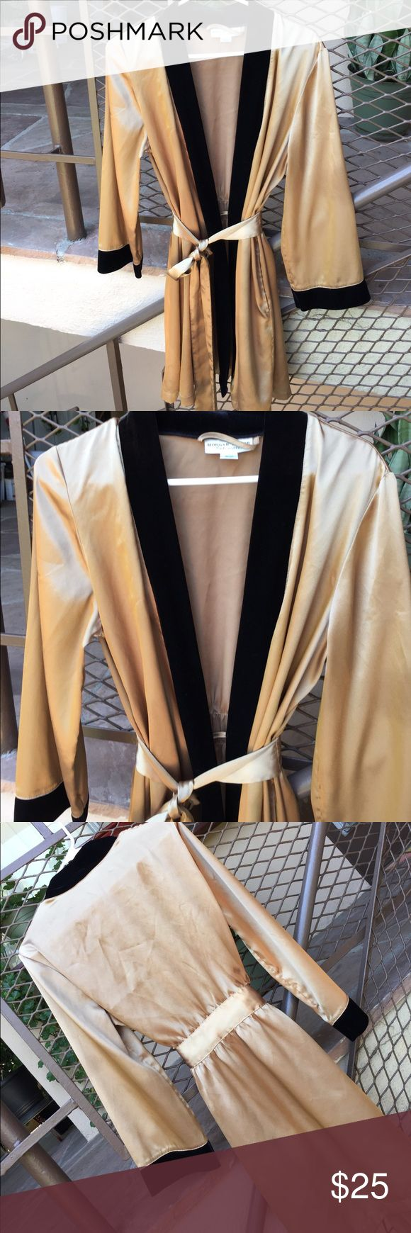 Morgan Taylor Intimates Women's Gold Short Robe This is the coolest satin like Robe ever! It is in perfect never worn condition. It is 100% Polyester but looks like satin and trim looks like velvet. You will love it and has sash and inside tie as well. Take this for that weekend date and look glamorous for room service in your he morning! Morgan Taylor Intimates Intimates & Sleepwear Robes