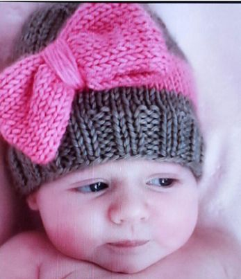 Big Bow Baby Hat free knitting pattern and more baby hat knitting patterns