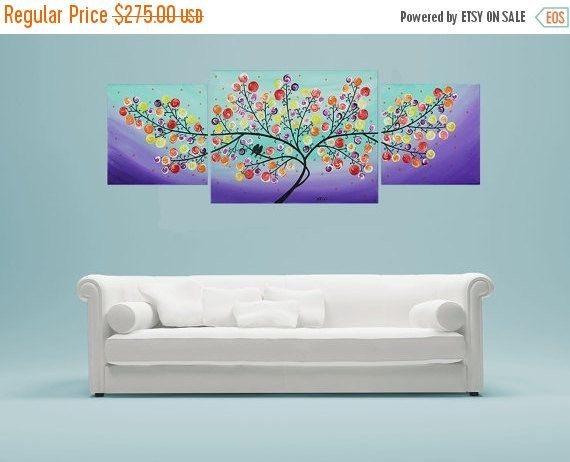 Abstract Acrylic Painting Love Birds wall decor by QiQiGallery