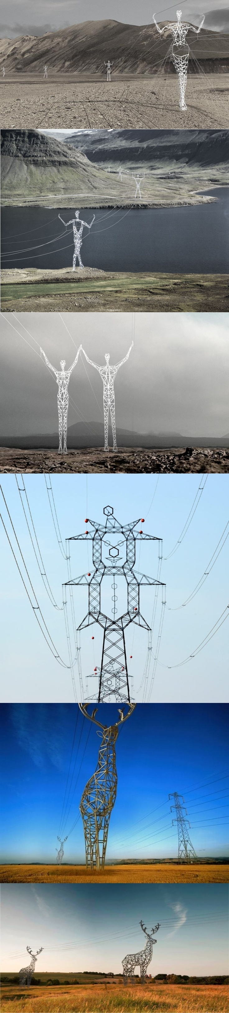 Best Transmission Towers Images On Pinterest Towers - Architects turn icelands electricity pylons into giant human statues