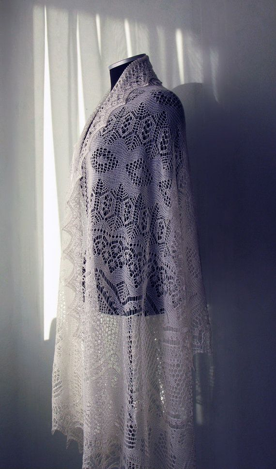 Hand knitted traditional Shetland Lace Shawl in  by LaceForYou, $180.00