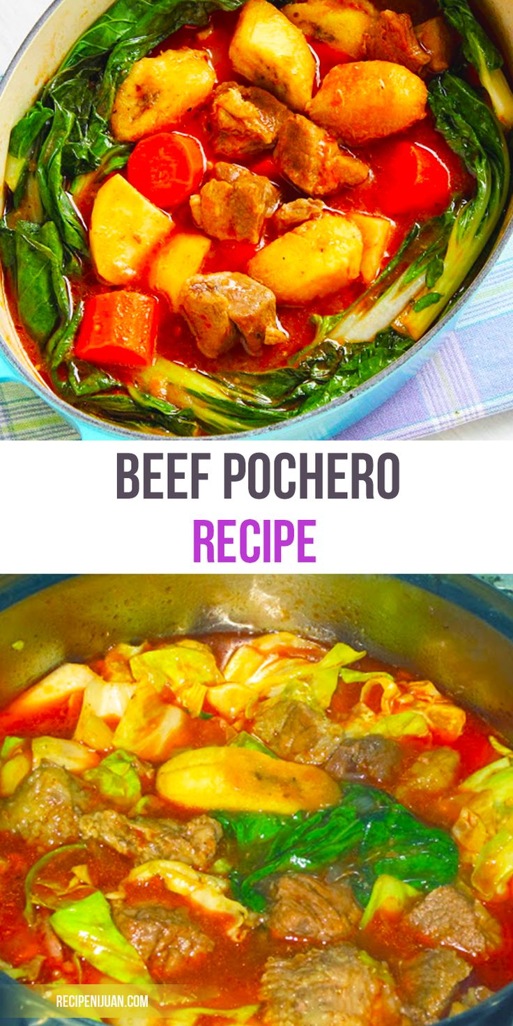 This Beef Pochero recipe is basically a tomato-based stew with chorizo, potato, banana and chick peas.