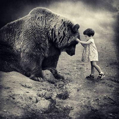 Bearhug.: Little Girls, Bears Hug, Teddy Bears, Black And White, Pet, Big Bears, The Beast, Photo, Animal