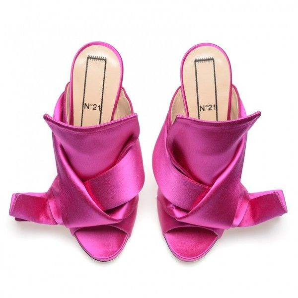 Fuchsia satin bow mules ❤ liked on Polyvore featuring shoes, bow shoes, mule shoes, fuschia shoes, satin bow shoes and fuchsia shoes