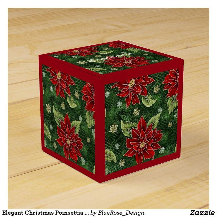 Elegant Christmas Poinsettia Red Cube Favor Box