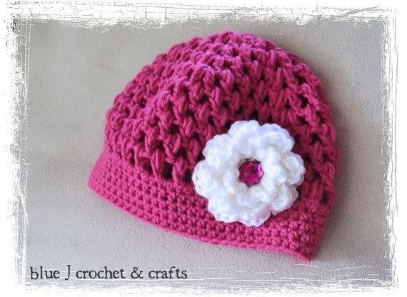 Crochet Pattern - Seabreeze Puff Stitch Hat (Newborn to Adult Woman) with Crochet Flower Pattern, Beanie Style Hat For Girls