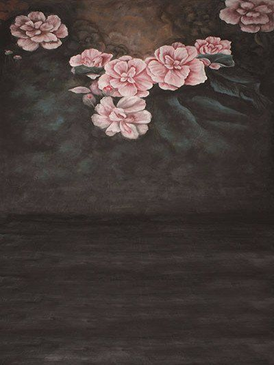 Buy discount Dark painted background for portrait Photography,Backdrops Painted Retro Cloth Pink Flower background for sale,newborn Photography washable