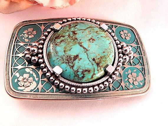 Belt Buckle Mens Genuine Turquoise Stone Western Jewelry Etsy