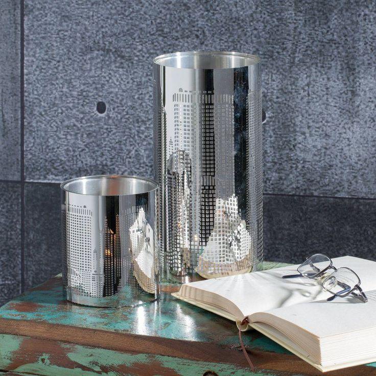 #prezent #gift #mama #mother #celebration Świecznik Tower Block metal ażurowy 10x20cm, 10x20cm - Dekoria