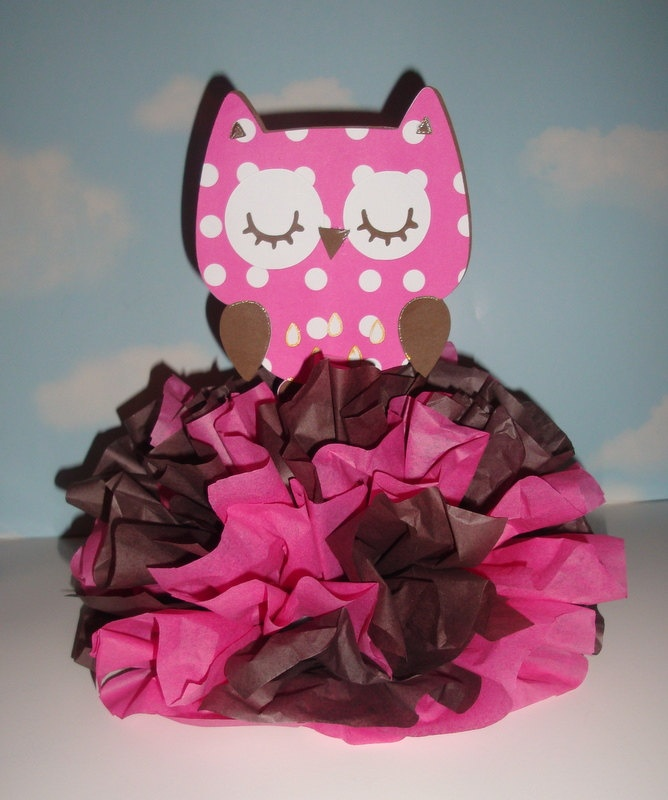 Owl centerpiece decoration kit diy complete birthday baby for Baby owl decoration