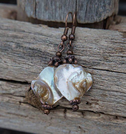 gabi111 / Béžová perleť - náušnice