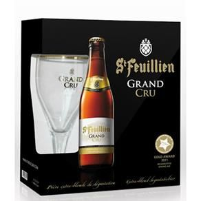 Kit Cerveja Belga Belgian Golden Strong Ale St. Feuillien Grand Cru 330ml - 4 garrafas + Taça