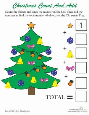 Christmas Kindergarten Counting & Numbers Addition Worksheets: Christmas Counting #2 Worksheet