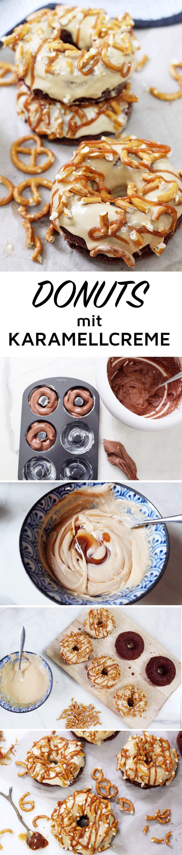 Schokoladen Donuts mit salziger Karamellcreme backen: DIY Rezept