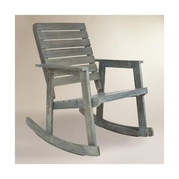 Cost Plus World Market Ash Gray Wood Outdoor Rocking Chair ($300) ❤ Liked On