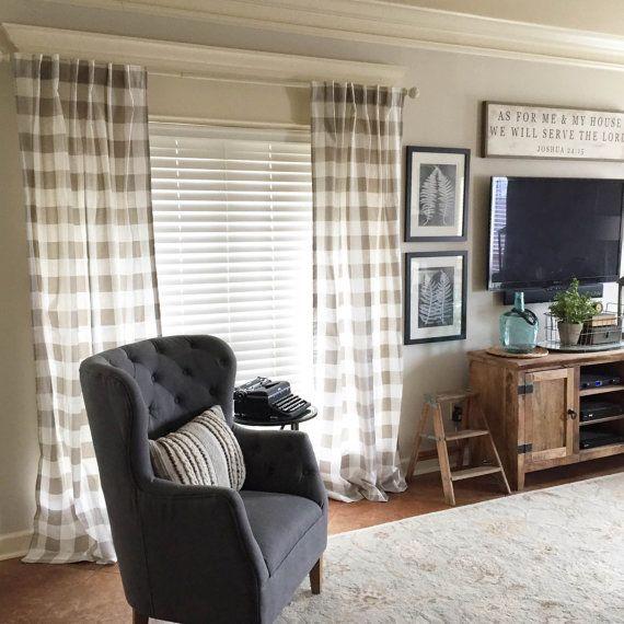 1 pair of Plaid Curtains Plaid Buffalo by FrostingHomeDecor