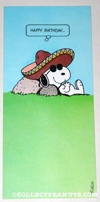 Peanuts Birthday Cards | CollectPeanuts.com - Joe Cool Sombrero Birthday Greeting Card