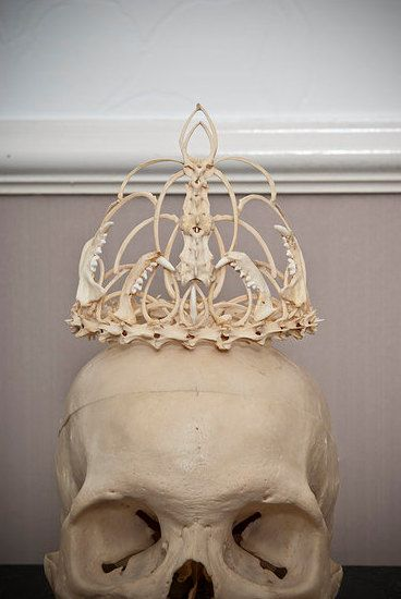 Memento Mori bone crown tiara wedding by MementoMoriUK