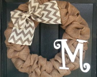 Chevron Burlap Wreath with Initiall and by SheekBurlapDesigns