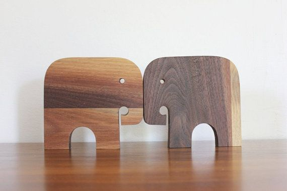 Modern Toy Walnut Elephant от sewtheland на Etsy