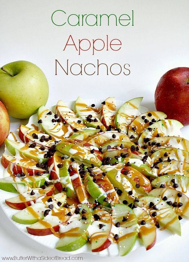 Caramel Apple Nachos--red and green apple slices, drizzled with caramel and marshmallow cream. Topped with mini chocolate chips. Yum!