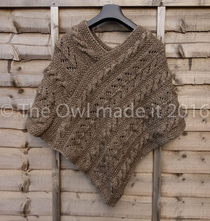 Knitting Wool Uk Only : Autumn knit poncho wool cable chunky