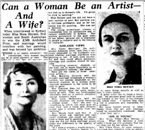 Can a woman be an artist and a wife? The Adelaide Mail of 21 Jan 1939 asks, after Nora Heysen becomes the first Australian woman to win the Archibald Prize.