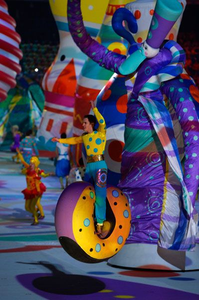 SOCHI, RUSSIA - FEBRUARY 07: Dancers perform during the Opening Ceremony of the Sochi 2014 Winter Olympics at Fisht Olympic Stadium on February 7, 2014 in Sochi, Russia. (Photo by Pascal Le Segretain/Getty Images)