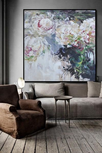 Large Abstract Flower Oil Painting, hand painted floral art painting on canvas, abstract art canvas painting.