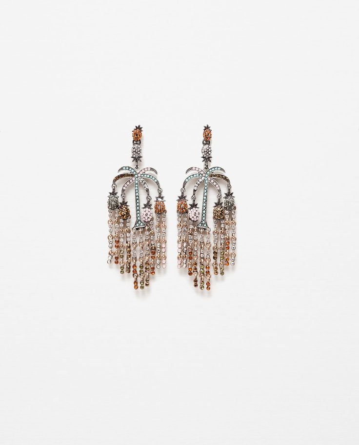 PINEAPPLE AND PALM TREE EARRINGS-View All-ACCESSORIES-WOMAN | ZARA United States