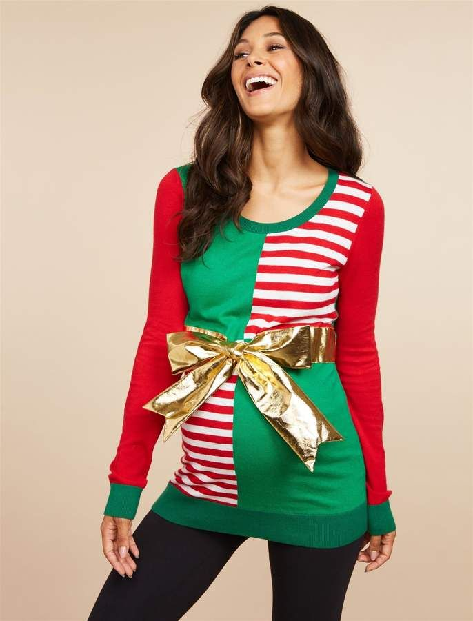 9fea5d809aa Motherhood Maternity Christmas Present Bow Maternity Sweater