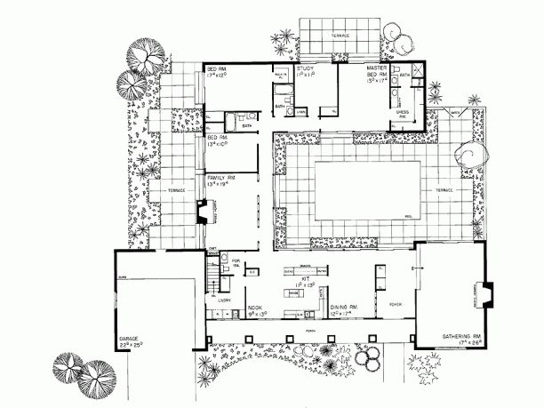 Eplans ranch house plan courtyard classic 3110 square Indoor courtyard house plans