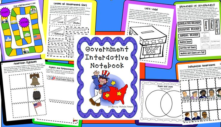 Government notebooking fun with help for branches of gov., levels of gov., rules vs laws, rights vs. responsibilities, how a bill becomes a law and more $