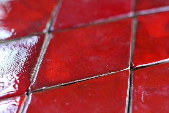 Rhombus tile  Red by Artisanknobs on Etsy