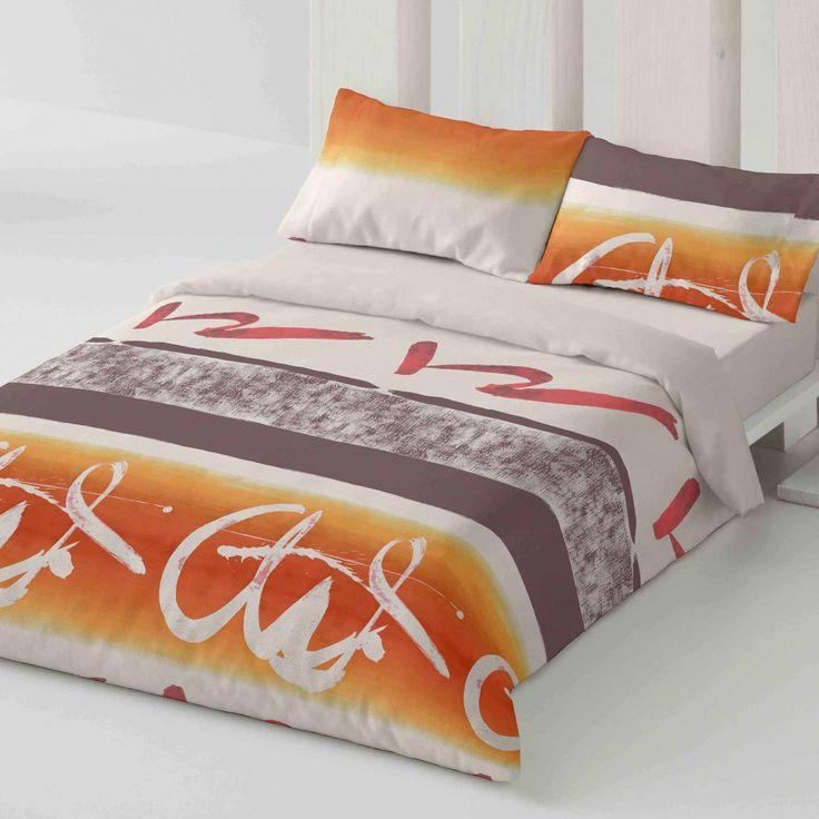 Duvet cover. Words. Bedroom. Bed. Decor. Orange. Style.