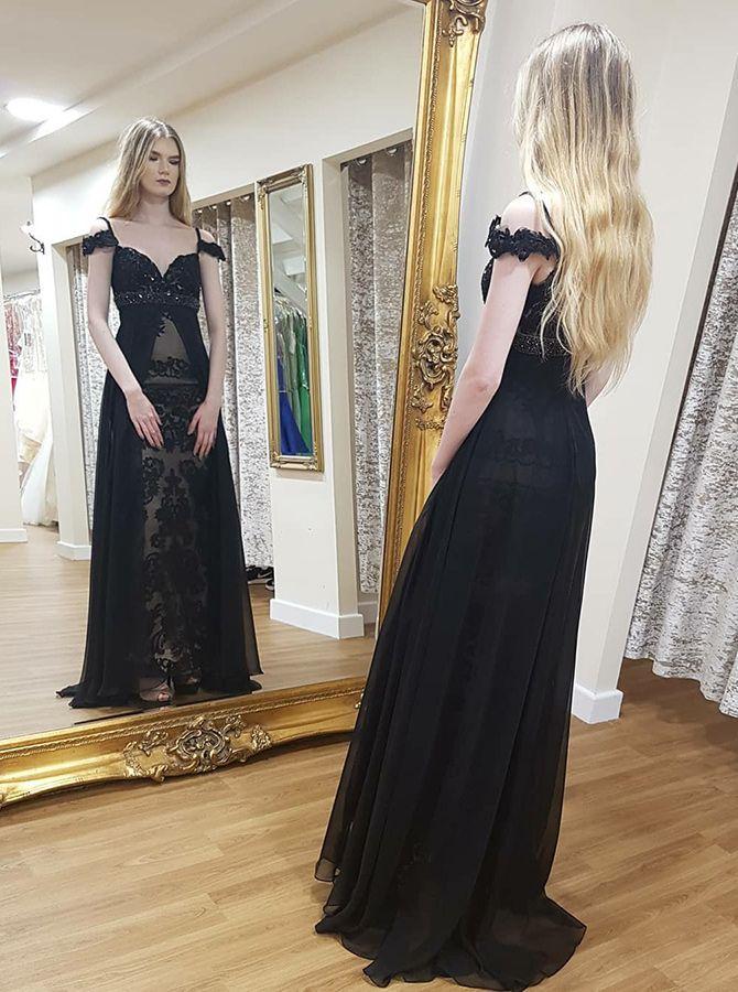 b1f4b7a7474 A-Line Spaghetti Straps Cold Shoulder Long Black Formal Dress with ...