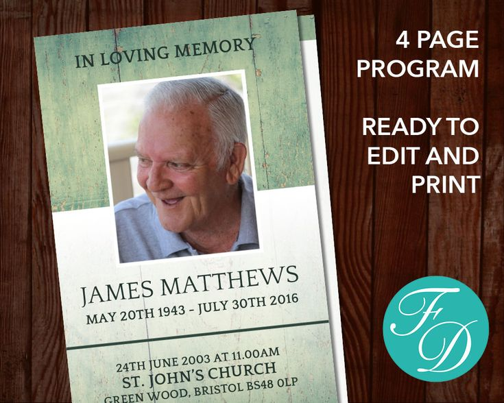 218 best Funeral Programs for Men Obituary Templates \ Prayer - free printable memorial service programs