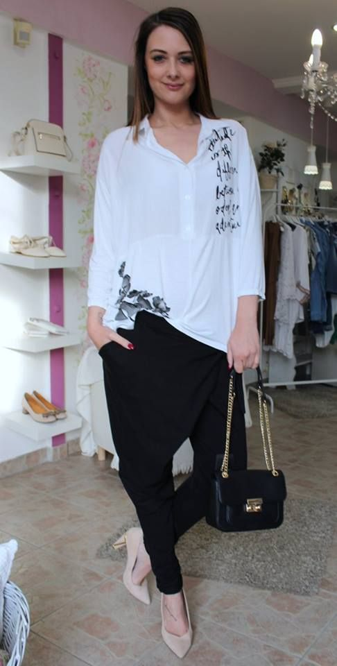 Black easy-fitting trousers