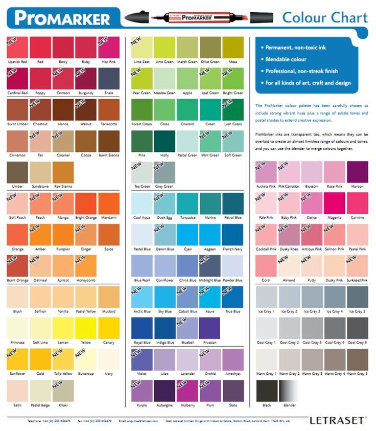 promarker color chart promarker pinterest colors. Black Bedroom Furniture Sets. Home Design Ideas