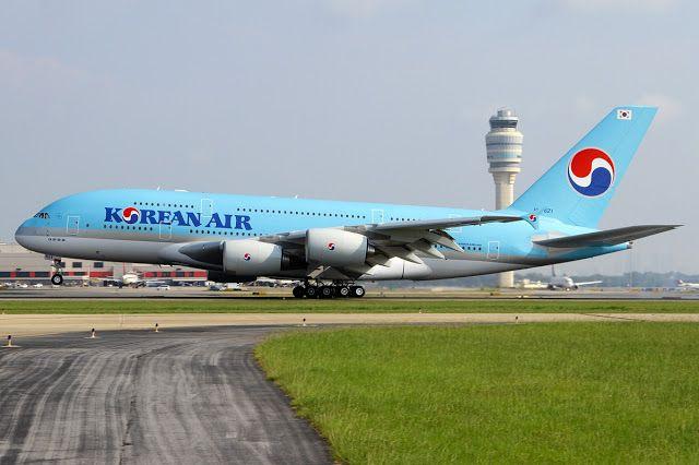 Korean Air A380 Rotating Takeoff at Atlanta Airport